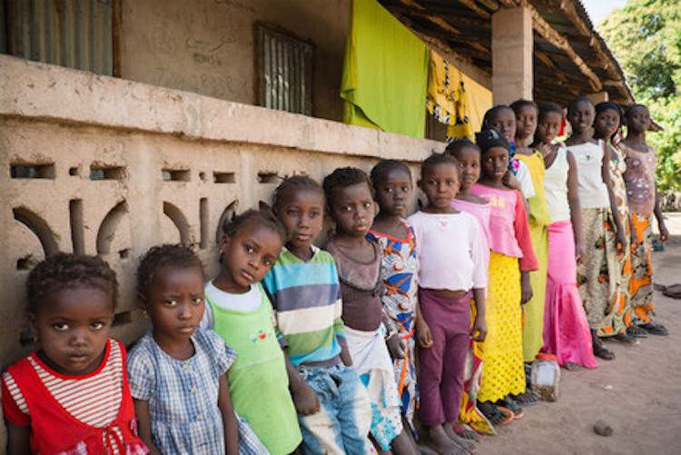 row of children
