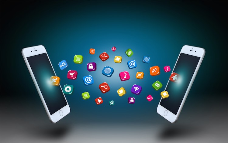 Smartphones communicating through their apps